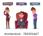 sick people. unhappy character. ... | Shutterstock .eps vector #783201667