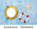 maritime background  lifebuoy... | Shutterstock . vector #783204643