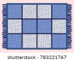 blue mat with fringe.... | Shutterstock .eps vector #783221767