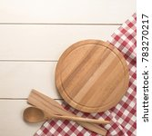 cutting board with tablecloth... | Shutterstock . vector #783270217