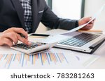businessman working with... | Shutterstock . vector #783281263