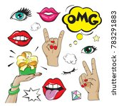 fashion patch badges with lips  ...   Shutterstock .eps vector #783291883
