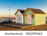2 Beach Huts Painted In Pastel...