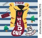 cute cartoon roaring tiger head ... | Shutterstock .eps vector #783306793
