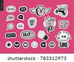 set of contemporary girlie love ... | Shutterstock .eps vector #783312973