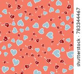 pattern with hearts valentines... | Shutterstock .eps vector #783344467
