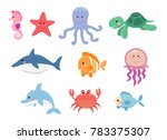 sea life  marine animals set in ... | Shutterstock . vector #783375307