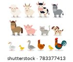 farm animals set in flat style... | Shutterstock . vector #783377413