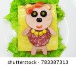 creative sandwich snack with... | Shutterstock . vector #783387313