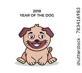 2018 year of the dog. vector... | Shutterstock .eps vector #783416983
