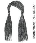 trendy  long hair cornrows gray ... | Shutterstock .eps vector #783433627