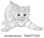 adult coloring page a cute... | Shutterstock .eps vector #783477133