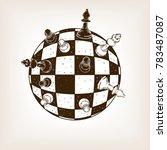 spherical chess engraving... | Shutterstock .eps vector #783487087