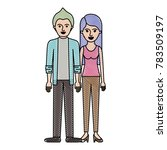 couple in colored crayon... | Shutterstock .eps vector #783509197