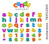 candy color alphabet. kids font ... | Shutterstock .eps vector #783513343