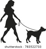 Stock vector dog walking lady vector silhouette 783522733
