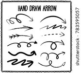 sketchy arrow set. hand drawn... | Shutterstock .eps vector #783595057