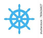 blue ship steering wheel | Shutterstock .eps vector #783626827