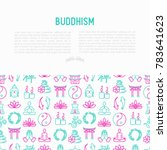 buddhism concept with thin line ... | Shutterstock .eps vector #783641623