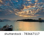 fishing boat  sea and sunshine | Shutterstock . vector #783667117
