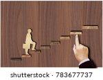 wooden figure of man on the... | Shutterstock . vector #783677737