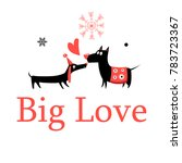 greeting card in love dogs on a ... | Shutterstock .eps vector #783723367