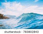 blue wave in ocean. clear wave... | Shutterstock . vector #783802843