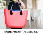 red ladies handbag with handles ... | Shutterstock . vector #783883537