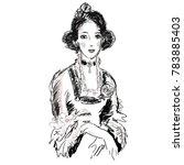 female portrait in antique... | Shutterstock .eps vector #783885403