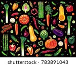 pattern with vegetables... | Shutterstock . vector #783891043