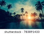 tropical sea beach with... | Shutterstock . vector #783891433