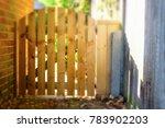 wooden picket type gate fence... | Shutterstock . vector #783902203
