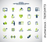 25 fitness icons set  gym ... | Shutterstock .eps vector #783924973