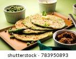 green peas stuffed paratha or... | Shutterstock . vector #783950893
