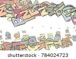 colorful alphabets letters... | Shutterstock .eps vector #784024723