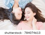two beauty woman smile happily... | Shutterstock . vector #784074613