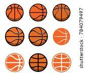 set of basketball balls... | Shutterstock .eps vector #784079497