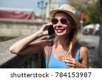 attractive female traveler is...   Shutterstock . vector #784153987