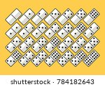 full set white domino pieces in ... | Shutterstock .eps vector #784182643