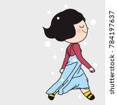 cute girl in trendy winter... | Shutterstock .eps vector #784197637
