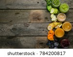 colorful baby food purees in... | Shutterstock . vector #784200817