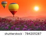 hot air balloons over cosmos... | Shutterstock . vector #784205287