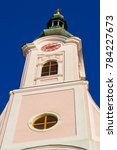 Small photo of Pozega,Croatia-November 31, 2017: Top of the church Saint Teresa of Avila and church in Pozega.