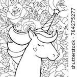 unicorn and flowers. magical...   Shutterstock .eps vector #784275277