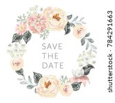 Wedding wreath Save the date. Pale pink peonies, hydrangea and gray leaves. Watercolor vector illustration. Summer flowers.