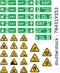 exit  warning and hazard signs | Shutterstock .eps vector #784319353