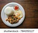 top view rice with chicken... | Shutterstock . vector #784350127