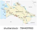 turkmenistan road vector map... | Shutterstock .eps vector #784409983