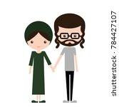 happy jewish couple in... | Shutterstock .eps vector #784427107