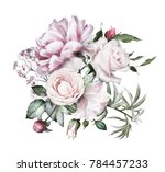 watercolor flowers. floral... | Shutterstock . vector #784457233